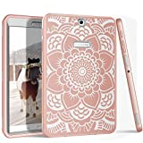 Galaxy Tab S2 9.7 Case, PIXIU Heavy Duty Rugged Hybrid stury Shockproof Protective Case cover for Samsung Galaxy Tab S2 9.7 SM-T810/T815/T813N/T819N (Floral/Rose Gold)