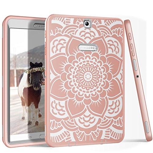 Galaxy Tab S2 9.7 Case, PIXIU Heavy Duty Rugged Hybrid stury Shockproof Protective Case cover for Samsung Galaxy Tab S2 9.7 SM-T810/T815/T813N/T819N (Floral/Rose Gold) by PIXIU