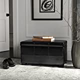 Safavieh Hudson Collection NoHo Tufted Black Leather Small Storage Bench