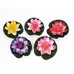 BARGAIN-HOUSE-Artificial-Floating-Foam-Lotus-Flower-Pond-Decor-Water-Lily-5pcs