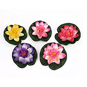 BARGAIN HOUSE Artificial Floating Foam Lotus Flower Pond Decor Water Lily 5pcs 9