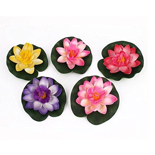 BARGAIN HOUSE Artificial Floating Foam Lotus Flower Pond Decor Water Lily 5pcs