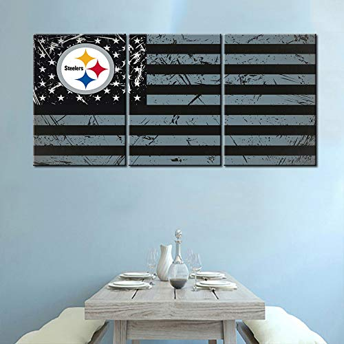 Wall Pictures for Living Room Red USA Flag and Pittsburgh Steelers Logo Paintingse Canvas Wall Art HD Prints Patriot Artwork Modern House Decor Wooden Framed Gallery-Wrapped Ready to Hang(42''Wx20''H)