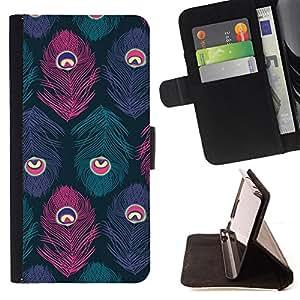 "For HTC One A9,S-type Ojo Pluma púrpura del pájaro del trullo"" - Dibujo PU billetera de cuero Funda Case Caso de la piel de la bolsa protectora"