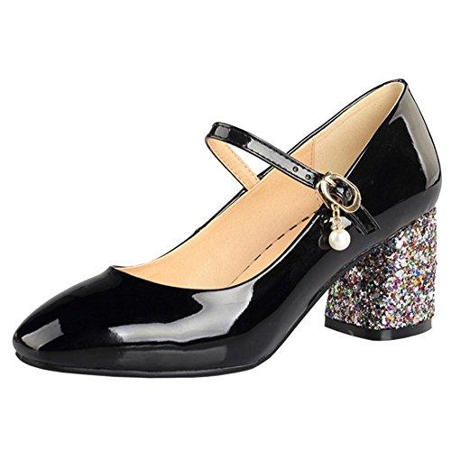 Zapatos Mujer Tacon Ancho RAZAMAZA Negro Bombas Bombas Negro H8A1HW4 in 7ade80