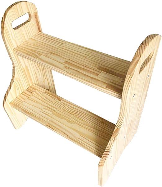 Taburete de Madera de 2 escalones para Adultos y niños Escalera de Mano portátil Escaleras de Cocina Banco de Zapatos/Estante de Flores: Amazon.es: Hogar