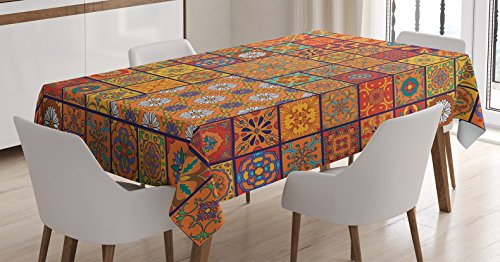 - Ambesonne Moroccan Tablecloth, Group of Moroccan Geometric Patterns Floral Ornamental Patchwork Print, Dining Room Kitchen Rectangular Table Cover, 60