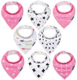 Dodo Babies Baby Bandana Drool Bib Set - 8pc Infant Bibs with 2 Pacifier Clips, Binky Case, Gift-Ready Bag - Soft Absorbent Cotton with Polyester Back - Adjustable Buttons to Fit 3-24 -Month Old Girls