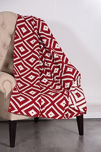 "Norry Design 100% Cotton Knit Throw Blanket- Throws And Blankets Sofa Couch Blanket–50""X60"" Indoor–Outdoor Throw Blanket 11x13x3 DK.RED-NATURAL"