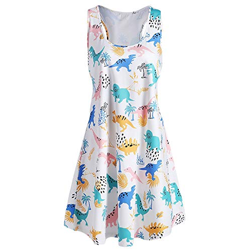 KCatsy Plus Size Dinosaur Print Tank Dress -