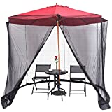 9 & 10 Ft Outdoor Umbrella Mosquito Netting - Solar Patio Umbrella Screen Mesh - Table Zippered Bug Net - Canopy Patio Furniture