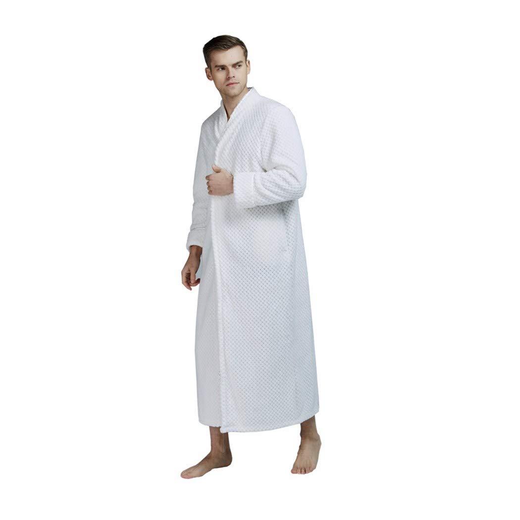 GAOHUI Männer Herbst Winter Warm Home Casual Gewirke Flanell Bademäntel Erweitert Erweiterte Lange Ärmel Reißverschlüsse Schlafanzug Weiß Männlichen XL