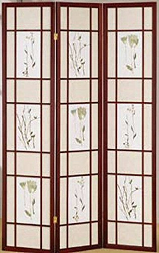 Legacy Decor 3 Panel Floral Accented Screen Room Divider, Cherry Wood Frame, Printed Shoji Paper