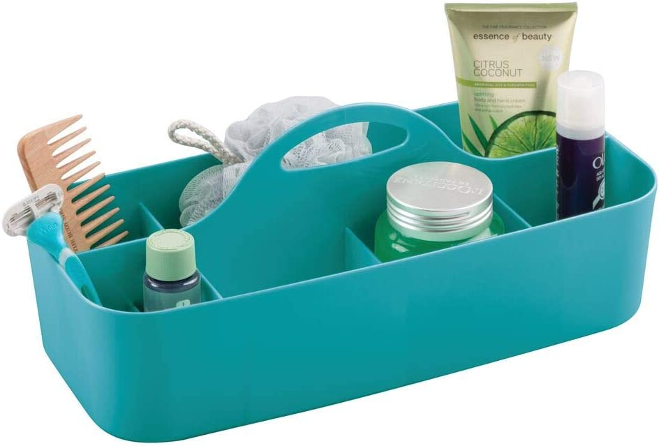 mDesign Plastic Portable Storage Organizer Caddy Tote - Divided Basket Bin with Handle for Bathroom, Shower, Dorm Room - Holds Hand Soap, Body Wash, Shampoo, Conditioner, Lotion - Teal Blue