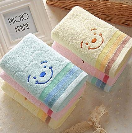 Calidad de algodón puro cachorros coloridos dibujos animados smiley lávate la cara de algodón toalla de