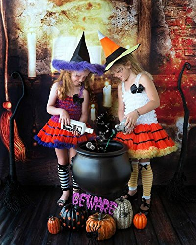 Halloween Photography Backdrop Kids 5x7ft Magical Ghostlight Witch