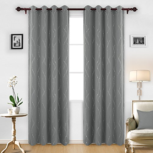 Deconovo Blackout Grommet Curtains Pair Thermal Insulated Light Blocking Curtains with Dots Pattern for Sliding Glass Door 52 x 95 Inch Grey 2 (Heat Wave Tab)