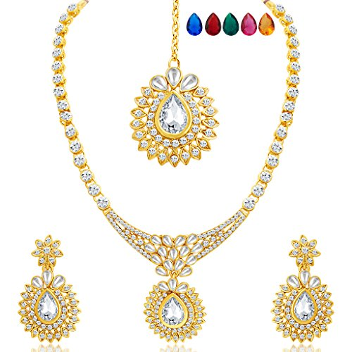 Sukkhi Beguiling Gold Plated AD Necklace Set with Set of 5 Changeable Stone for Women