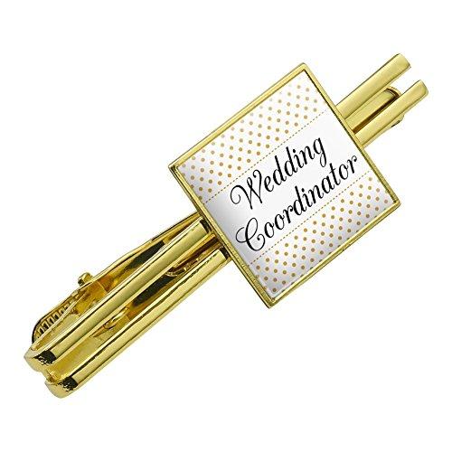 Gold Dot Clasp - Wedding Coordinator Planner Elegant Polka Dots Square Tie Bar Clip Clasp Tack Gold Color
