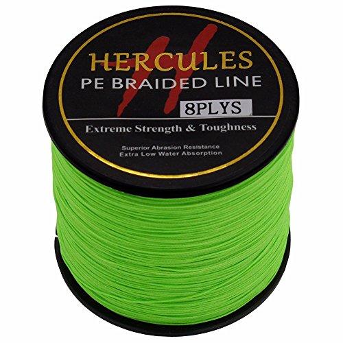Hercules 500m 547yds Fluorescent Green 10lbs-300lbs Pe Dyneema Braid Fishing Line 8 Strands (50lb/22.7kg 0.37mm) Review