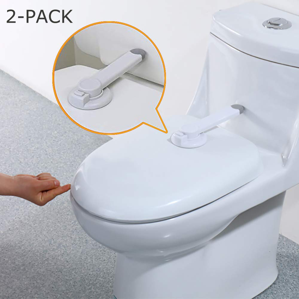 Baby Safety Toilet Locks -Professional Baby Proof Toilet Lid Lock with Arm 3M Adhesive Mount - Top Safety Toilet Seat Locks No Tools Needed Easy Installation with 3M Adhesive – Fits Most Toilets