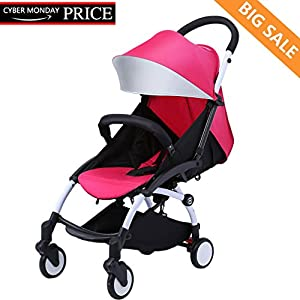 Baby Stroller Baabyoo Ultra lightweight Pushchair Folding Infant Stroller Travel System Anti-Shock Umbrella Stroller 12.8lb Rainproof Toddler Carrier for Travel and Plane