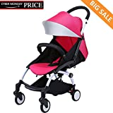 Baabyoo Ultra lightweight Baby Stroller Folding Infant Stroller Travel System Anti-Shock Umbrella Stroller 12.8lb Rainproof Toddler Carrier for Travel and Plane Rosyred