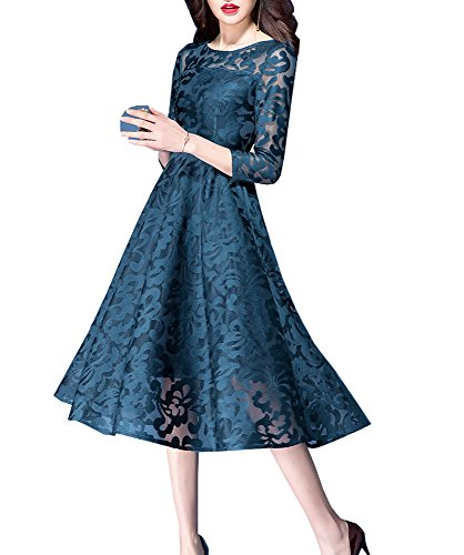 Elegant Retro 3 Women's Sleeve Blue Dress 4 Cocktail Party Swing Tribear Wxf7nRpwW