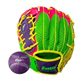Franklin Sports Teeball Recreational Series Fielding Right Hand Glove with Baseball, 9.5-Inch, Purple/Lime/Pink/Yellow