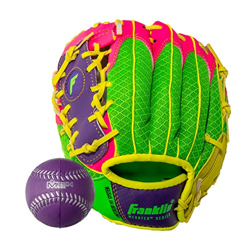 - Franklin Sports Teeball Glove - Left and Right Handed Youth Fielding Glove - Meshtek Series - Synthetic Leather Baseball Glove - Ready To Play Glove - 9.5 Inch Left Hand Throw with Ball - Purple/Pink/Yellow