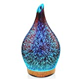 280ml Essential Oil Diffuser 3D Glass Aromatherapy Ultrasonic Humidifier - 7 Color Changing LEDs, Waterless Auto-Off,Timer Setting, BPA Free for Home Hotel Yoga Leisure SPA Gift