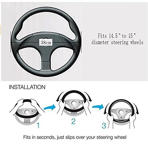 Lufei Luxury Crown Car Steering Wheel Cover for Women Leather Crystal Rhinestone Series 15