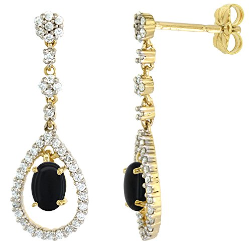 Drop Diamond And Onyx Earrings (14k Gold Diamond Genuine Onyx Dangle Earrings Teardrop 6x4 Oval 1 inch long)
