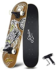 """sefulim 31""""x8"""" Complete Skateboard Skull Skateboard for Extreme Sports and Outdoors for Beginners &Pro"""