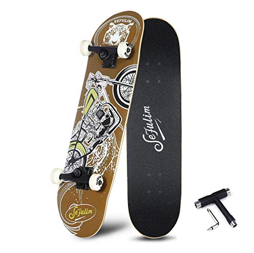 Sefulim 31″x8″ Complete Skateboard Skull Skateboard for Extreme Sports and Outdoors for Beginners &Pro