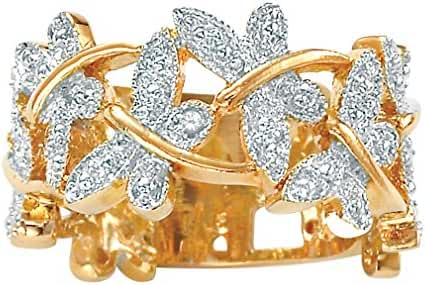 White Diamond Accent 18k Gold over .925 Sterling Silver Butterfly Ring