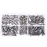 Hilitchi 210pcs M3 Stainless Steel Hex Socket Head Cap Screws Nuts Assortment Kit with Box (M3)