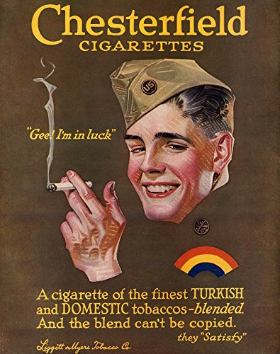 - Posterazzi Poster Print Collection Ad Namerican Advertisement for Chesterfield Cigarettes 1919, (18 x 24), Multicolored