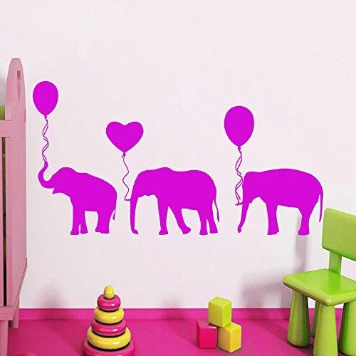 Poieloi Elephants Balloon Decal Vinyl Sticker Wall Decor Boy Girl Nursery Bedroom Playroom Home