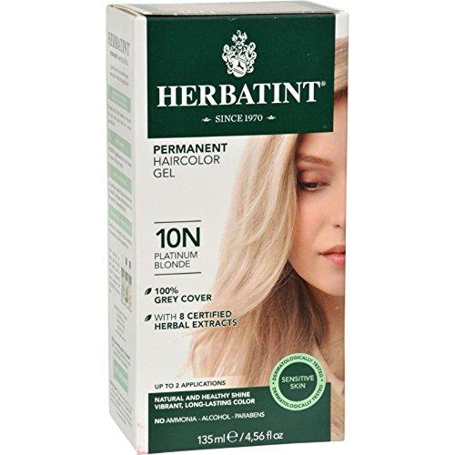 Herbatint Permanent Herbal Hair Color Gel, Platinum Blonde 10 N, 4.56 Ounce (Best Platinum Hair Color)