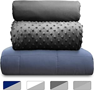 Rocklin Industry Chilla 15 lbs Weighted Blanket Set   3 Piece Set   Summer + Winter Duvet Covers   60in x 80in   Therapeutic for Anxiety, Stress, ADHD, Insomnia   Carbon + Gray