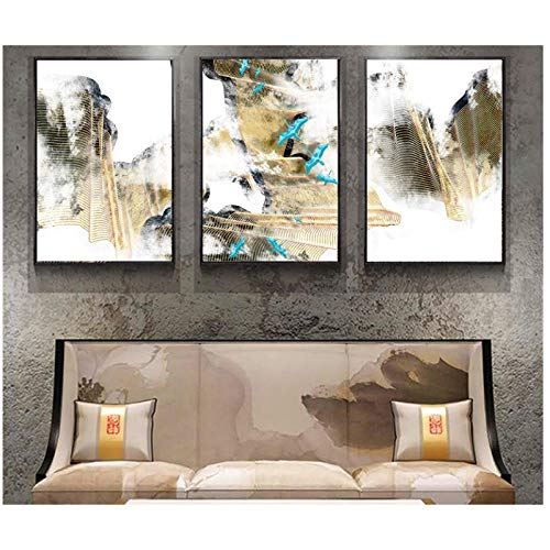 WSTDSM New Chinese Abstract Gold Line Decorative Paintings Wall Art Print Picture Canvas Painting Poster Room Print on Canvas (no - Chinese Painting Abstract
