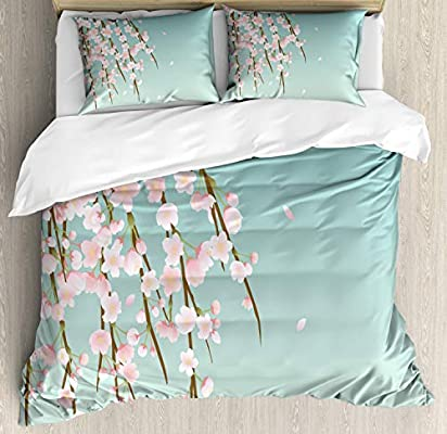 Ambesonne Weeping Flower Duvet Cover Set Decorative 2 Piece Bedding Set with 1 Pillow Sham Freshly Blooming Cherry Blossom Branches with Flower Buds Twin Size Mint Pink
