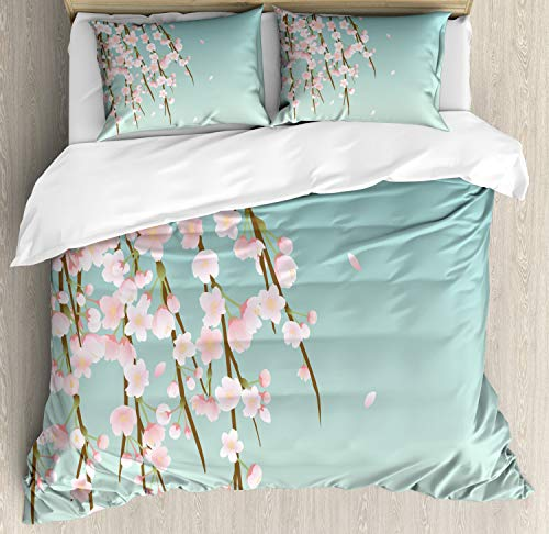 Ambesonne Weeping Flower Duvet Cover Set, Freshly Blooming Cherry Blossom Branches with Flower Buds, Decorative 3 Piece Bedding Set with 2 Pillow Shams, Queen Size, Mint Pink