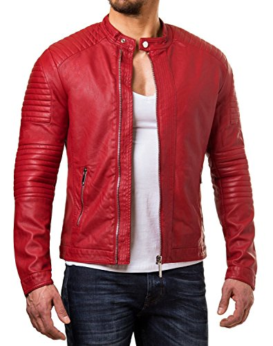 Leather Lifestyle Lambskin Real Leather Jacket Men's Slim Fit Biker Motorcycle Red MJ88