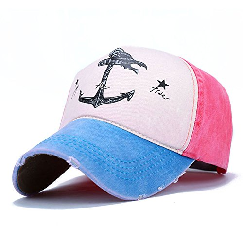 (Superhappy Vintage Style The Pirate Ships Anchor Printing Multicolor Adjustable Baseball Cap (Light Blue & Watermelon Red))