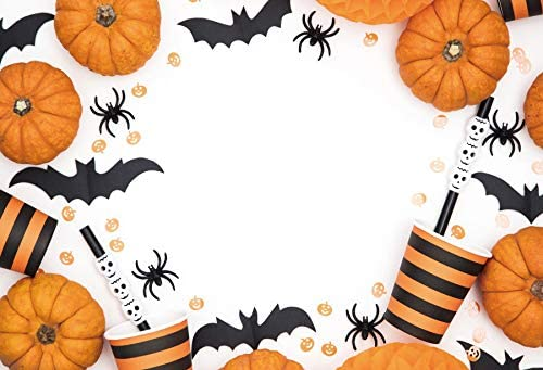 Laeacco Halloween Background 10x7ft Autumn Harvest White Vinyl Photography Backdrop Orange Grimace Pumpkin Black Bat Spider Stripes Cup Carnival Scary Party Decor Holiday Baby Kids Photo Prop Video