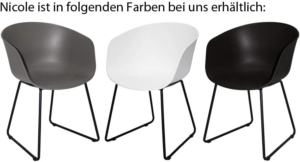 2er Set Gartenstuhl//Designstuhl//Esszimmerstuhl Nicole wei/ß//schwarz #800080 KMH/®