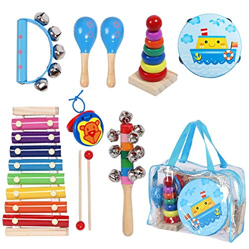 Kids Musical Instruments Sets, 12pcs Wooden Percussion Instruments Toys Tambourine Xylophone for Kids Playing Preschool Education, Early Learning Musical Toys for Boys and Girls Gift with Carry Bag (Drums Of Autumn Set)