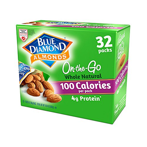 Blue Diamond Almonds 100 Calories Per Bag - 32 Grab and Go Bags,.625 Oz (Individual),20 Oz (net (Blue Snack)